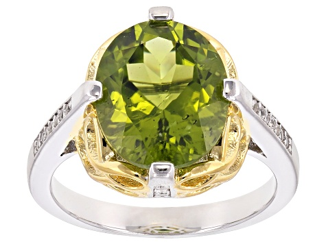 Green Peridot Two-Tone 18k Gold & Rhodium Over Silver Ring 4.62ctw