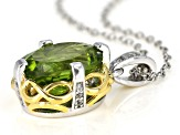 Green Peridot Two-Tone Rhodium & 18k Gold Over Silver Pendant With Chain 4.58ctw