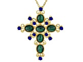 Green malachite 18k yellow gold over silver pendant with chain
