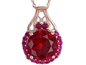 Red lab created ruby 18k gold over silver pendant with chain 9.60ctw
