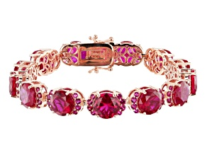 Red lab created ruby 18k rose gold over silver bracelet 43.92ctw