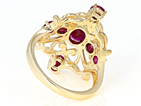 Red ruby 18k yellow gold over silver ring 2.19ctw