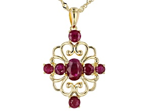 Red ruby 18k yellow gold over silver pendant with chain 2.19ctw
