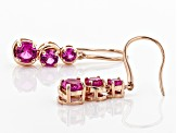 Pink lab created sapphire 18k gold over silver earrings 3.36ctw