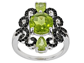 Green peridot rhodium over silver ring 3.63ctw
