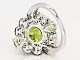 Green peridot rhodium over silver ring 3.63ctw