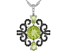 Green peridot rhodium over silver pendant with chain 3.63ctw