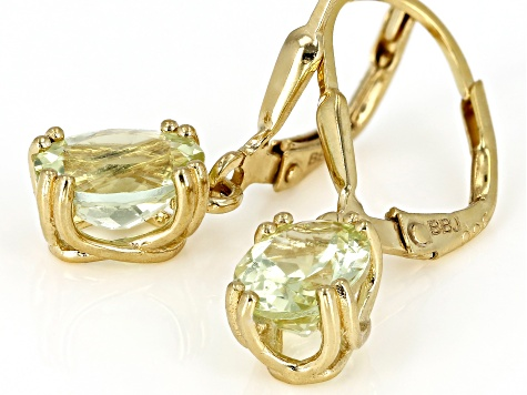Yellow apatite 18k gold over silver earrings 2.12ctw