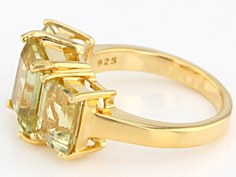 Yellow apatite 18k gold over silver ring 6.37ctw