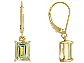Yellow apatite 18k gold over silver earrings 3.15ctw