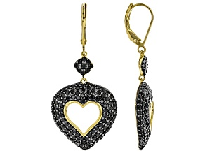 Black spinel 18k yellow gold over silver earrings 3.98ctw
