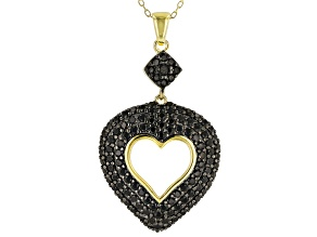 Black spinel 18k gold over silver pendant with chain 2.79ctw
