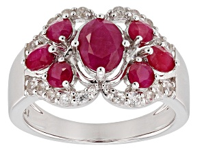 Red Ruby Rhodium Over Silver Ring 1.94ctw