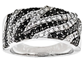 Black spinel rhodium over silver zebra ring 1.28ctw