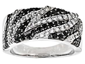 Black spinel rhodium over silver zebra ring 1.28ctw