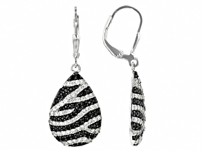 Black spinel rhodium over silver earrings 2.40ctw