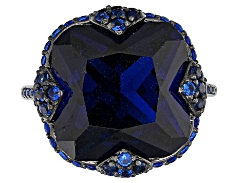Lab created blue spinel rhodium over silver ring 12.68ctw