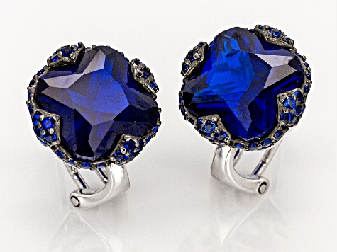 Lab created blue spinel rhodium over silver earrings 9.00ctw