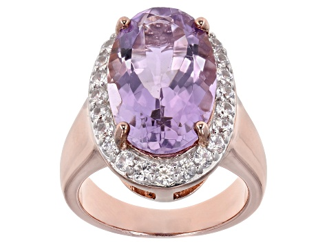 Lavender amethyst 18k rose gold over silver ring 9.20ctw