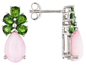 Pink opal rhodium over silver earrings 1.50ctw