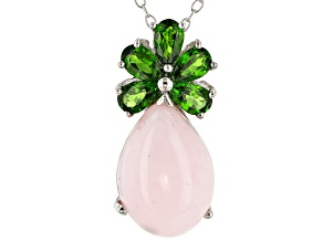 Pink opal rhodium over silver pendant with chain 1.10ctw