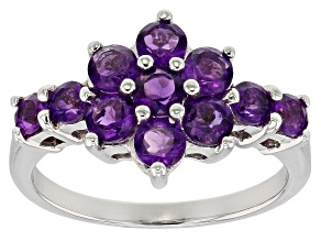 Purple amethyst rhodium over sterling silver ring 1.29ctw