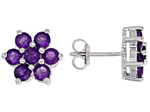 Purple amethyst rhodium over silver earrings 1.19ctw