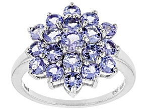 Blue tanzanite rhodium over silver cluster ring 2.21ctw