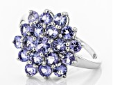 Blue Tanzanite Rhodium Over Sterling Silver Ring 2.21ctw