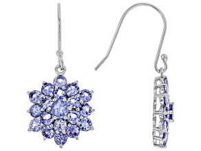 Blue tanzanite rhodium over silver earrings 3.92ctw