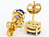 Blue tanzanite 18k yellow gold over silver stud earrings