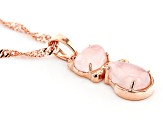 Pink Rose Quartz 18k Rose Gold Over Silver Cat Pendant with Chain