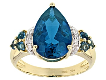 Picture of London Blue Topaz And Diamond 10k Yellow Gold Ring 5.72ctw