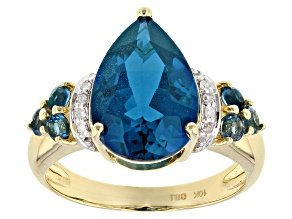 London Blue Topaz And Diamond 10k Yellow Gold Ring 5.72ctw