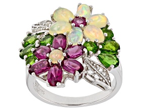 Opal Purple Rhodolite Garnet Green Chrome Diopside Topaz .925 Silver Flower Ring