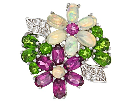 Opal Purple Rhodolite Garnet Green Chrome Diopside Topaz Sterling Silver Flower Ring 4.51ctw