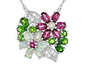 Opal Rhodolite Garnet Chrome Diopside White Topaz Sterling Silver Pendant And Chain.