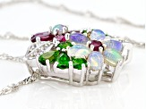 Ethiopian Opal Rhodium Over Sterling Silver Pendant And Chain 4.81ctw