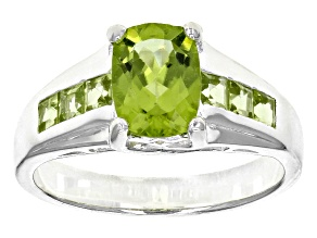 2.10ctw 8x6mm Faceted Cushion And Square Peridot .925 Sterling Silver Band Ring