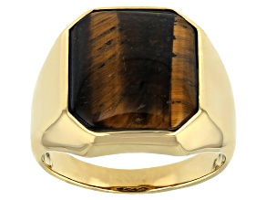 Brown Tiger's Eye 18k Yellow Gold Over Sterling Silver Men's Ring 16x14mm