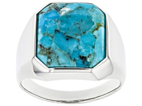 Blue Turquoise Rhodium Over Sterling Silver Men's Ring 16x14mm