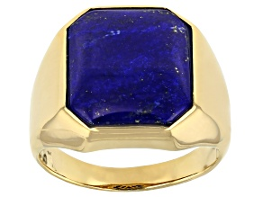 Blue Lapis Lazuli 18k Yellow Gold Over Sterling Silver Men's Ring