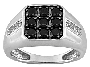 Black Spinel 1.35ctw With .30ctw White Topaz Sterling Silver Men's Ring