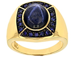 Blue Star Sapphire 18k Gold Over Silver Gent's Ring 6.90ctw