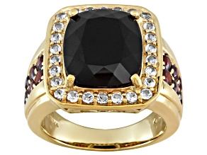 12.77ctw Black Spinel, Vermelho Garnet™ And White Topaz 18k Gold Over Silver Mens Ring