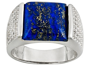Blue Lapis Lazuli Rhodium Over Sterling Silver Mens Ring 1.60ctw