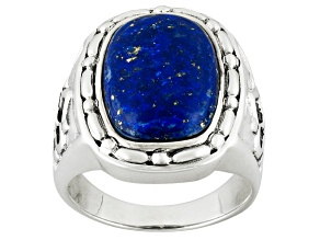 Blue Lapis Lazuli Sterling Silver Mens Ring