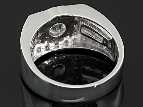 White Zircon Rhodium Over Sterling Silver Mens Ring 2.16ctw