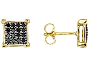 Black spinel 18k yellow gold over sterling silver gent's earrings .40ctw