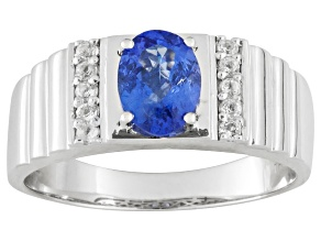 Blue Tanzanite Rhodium Over Sterling Silver Mens Ring 1.25ctw